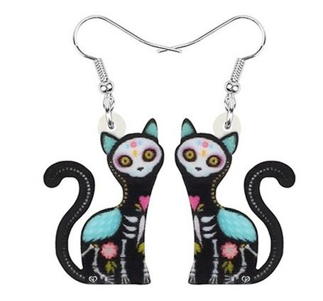 Boucles d'oreilles halloween chat