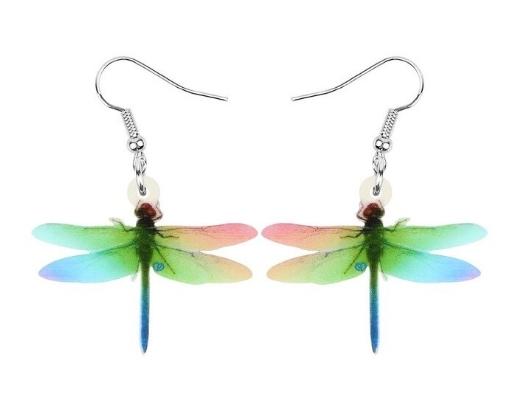 Boucles d'oreilles libellule verte