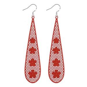 Boucles d'oreilles pendantes petites fleurs rouge