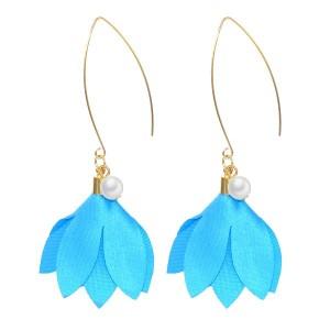 Boucles d'oreilles perle et fleur turquoise