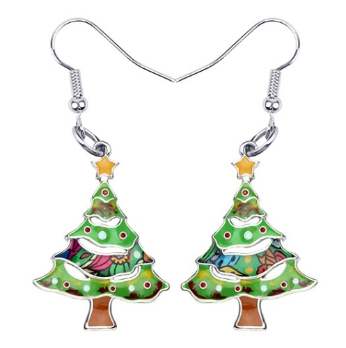 Boucles d'oreilles sapin de Noël émail