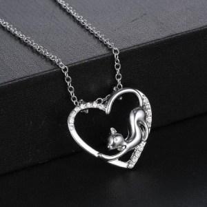 Collier chat dans cœur