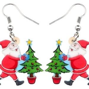 Boucles d'oreilles Père Noel et son sapin