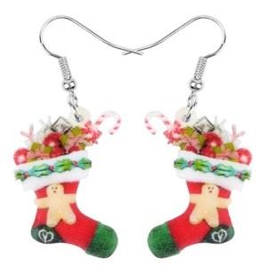 Boucles d'oreilles chaussette de Noel