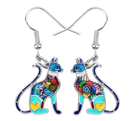Boucles d'oreilles émail chat élégant bleu