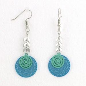 Boucles d'oreilles métalliques filigrane bleu