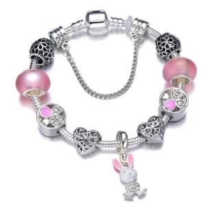 Bracelet charms lapin coeur