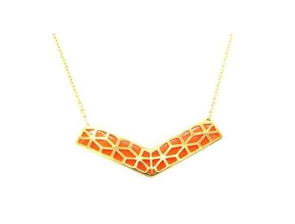 Collier acier chevron orange