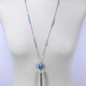 Sautoir perles de verre pompon métal bleu