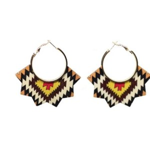 Boucles d'oreilles bois motifs kaki