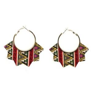 Boucles d'oreilles bois motifs triangulaire