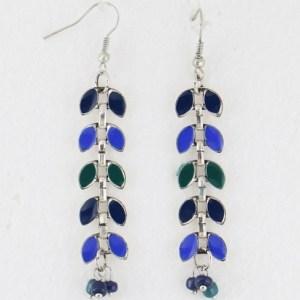 Boucles d'oreilles émail perles de rocaille bleu