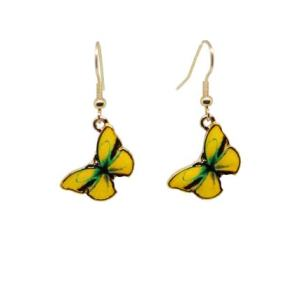 Boucles d'oreilles papillon émail jaune