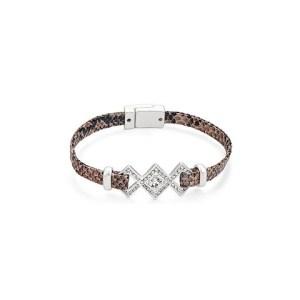 Bracelet croco argent mat