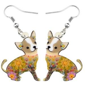 Boucles d'oreilles chihuahua fleurs