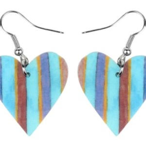 Boucles d'oreilles coeur bleu