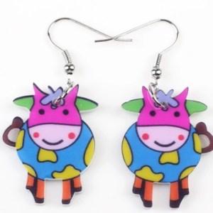 Boucles d'oreilles vache multicolore