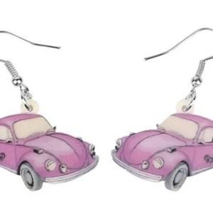 Boucles d'oreilles voiture rose