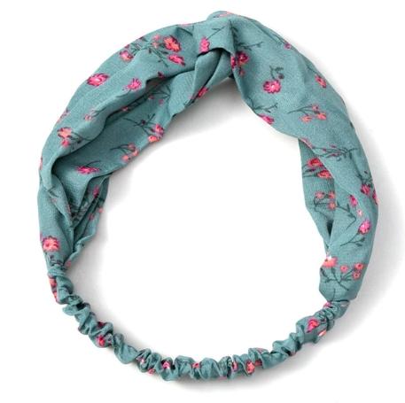 headband vert d'eau fleurs roses