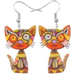 Boucles d'oreilles chat jaune