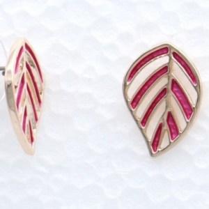 Boucles d'oreilles feuille fougère rose