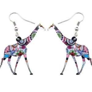 Boucles d'oreilles girafe grise fleurs