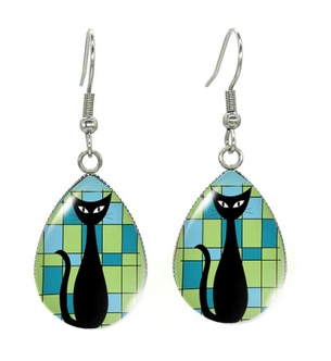Boucles d'oreilles goutte vert chat