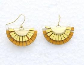 Boucles d'oreilles simili cuir jaune
