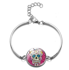 Bracelet médaillon rose tête de mort