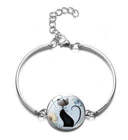 Bracelet médaillon silhouette chat