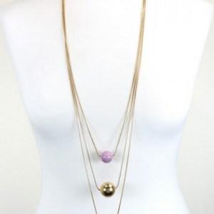 Sautoir multirangs perles acrylique