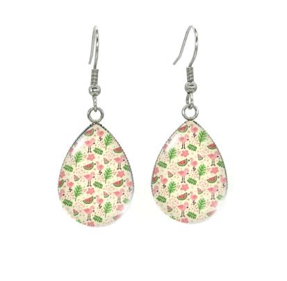 Boucles d'oreilles médaillon flamant rose pasteque