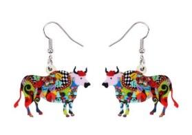 Boucles d'oreilles taureau multicolore