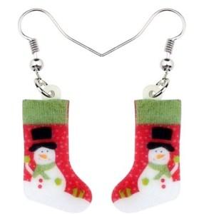 Boucles d'oreilles chaussette bonhomme de neige