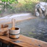 Rotenburo (open-air) onsen hot spring bath in Japan