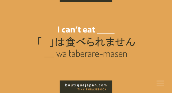 Boutique Japan Tiny Phrasebook with translations for travelers with dietary restrictions