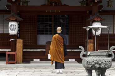 Buddhist Monk at Temple Kyoto Japan