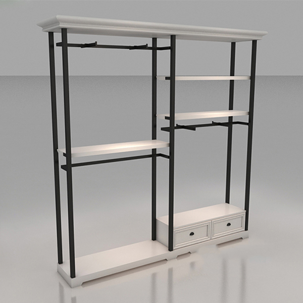 wholesale freestanding clothing garment rack with shelves boutique store fixtures manufacuring retail shop fitting display furniture supply