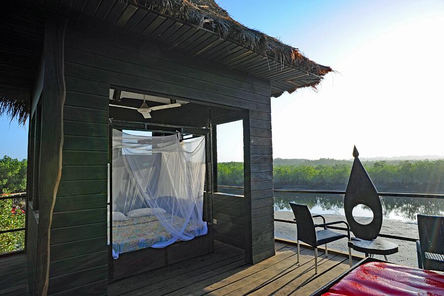 Open-air bedroom, Stilted Lodge, Mandina Lodges