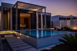 On bedroom Beach Villa by night