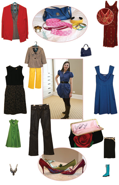 "Pictured: Blue Dress: Calvin Klein, Grey Dress: Taylor, Black Skirt: Forever 21, Coin Purse: Vintage Jacket: Taylor, Yellow Pant: J.Crew, Jeans: Henry III Generation, Long Red Sweater: J.Crew, Green Sleeveless Top: J.Crew, Vintage Clutch, Red Beaded Dress: Collette Dinnigan, Ilse Jacobsen rain boots, ""Amelia"" necklace from erin gallagher, Mar-a-Lago bag from Lilly Pulitzer"