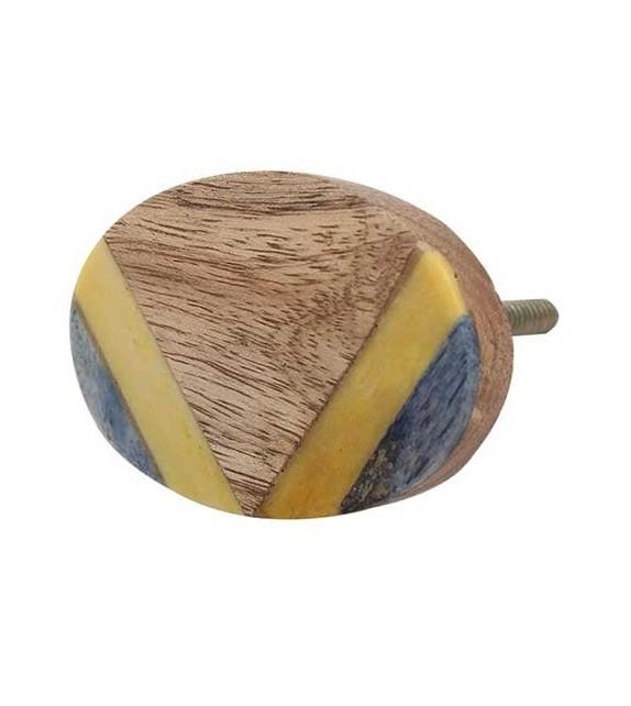 bouton de meuble ethnique en bois jaune
