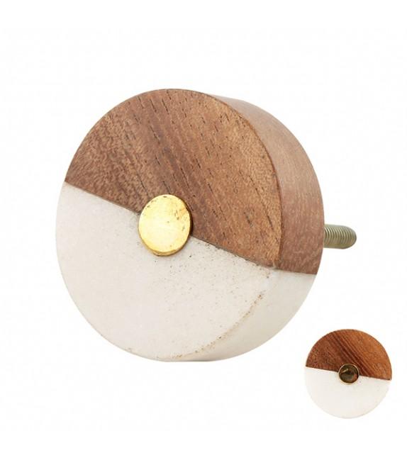 bouton de meuble rond face bois et pierre boutons mandarine
