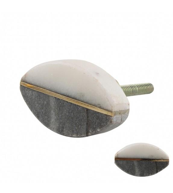 bouton de meuble pierre grise et blanche ovale boutons mandarine