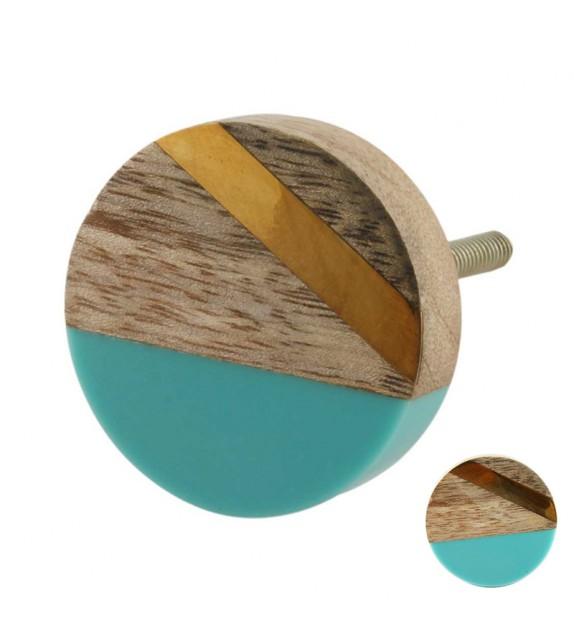 bouton de meuble graphique vintage dore et bleu bois boutons mand