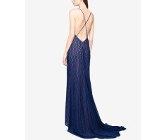 Fame and Partners Lace Cross-Back Dress with Train 1