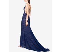 Fame and Partners Lace Cross-Back Dress with Train 2