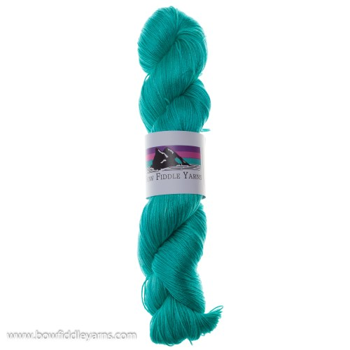 Skein of Bright Aqua Mulberry Silk Yarn