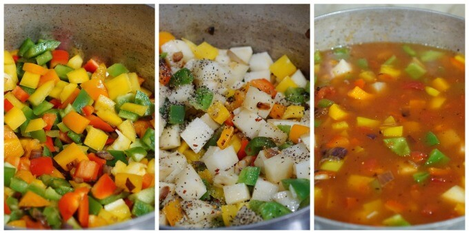 Cooking the stew - first add the peppers, then the potatoes & season well. Next add the broth, fire roasted tomatoes and tomato sauce.