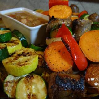 Brats and Veggies with Bacon Onion Sauce